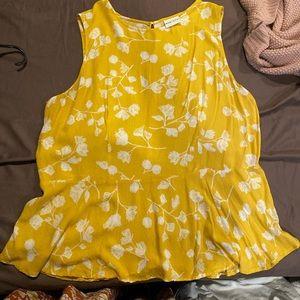 AVA & VIV Yellow Floral Peplum Top
